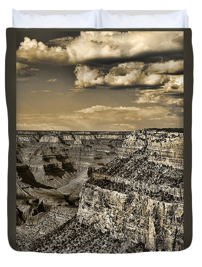 Grand Duvet Cover featuring the photograph Grand Canyon - Anselized by Ricky Barnard