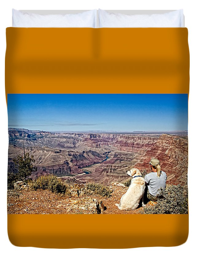Arizona Duvet Cover featuring the photograph Grand Canyon Girl And Dog by Waterdancer