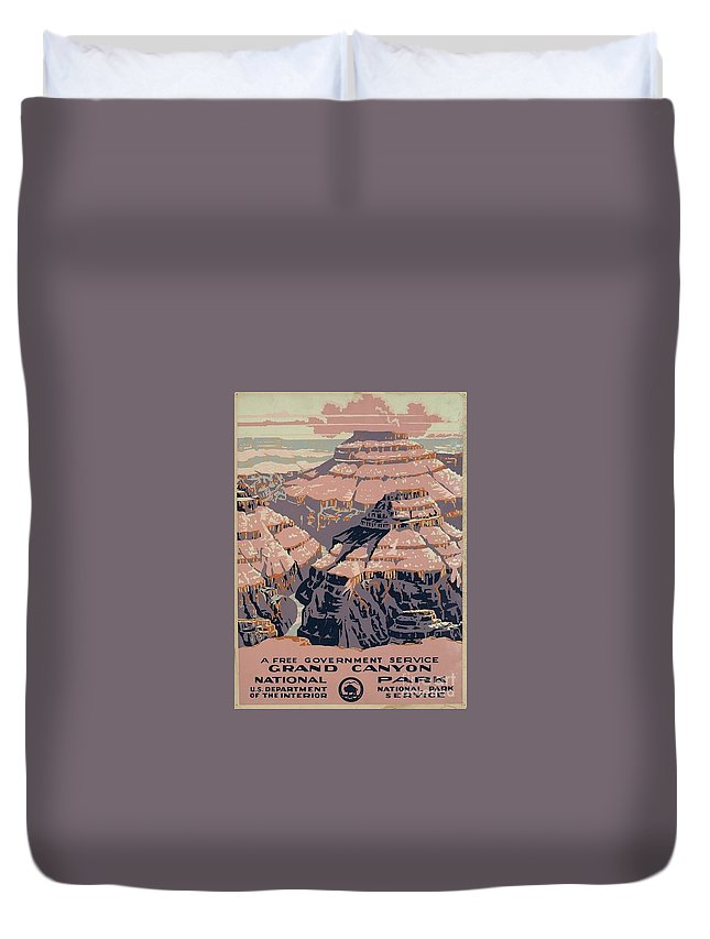 Vintage Duvet Cover featuring the painting Grand Canyon National Park by Nostalgic Prints