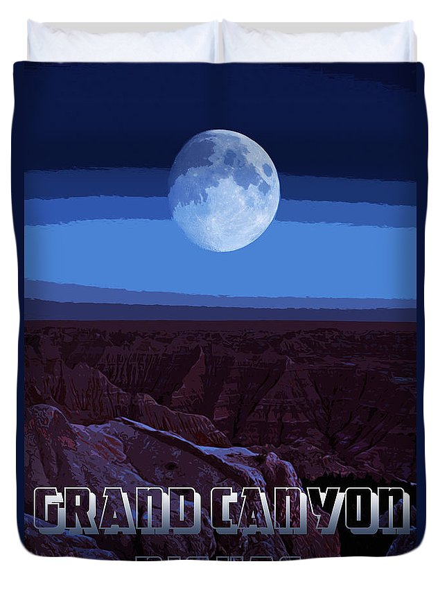 Grand Duvet Cover featuring the painting Grand Canyon Nights by Andrea Mazzocchetti