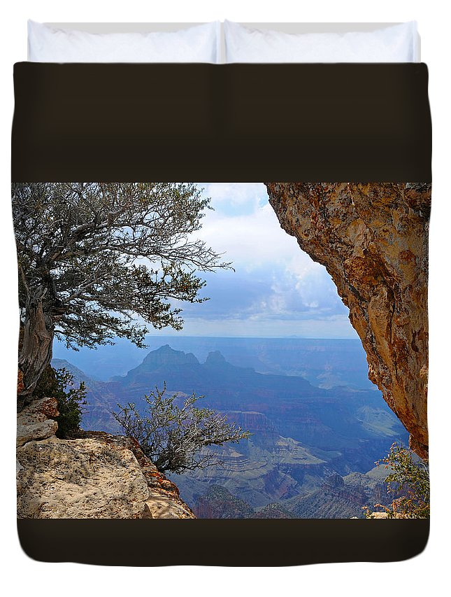 Grand Canyon North Rim Duvet Cover featuring the photograph Grand Canyon North Rim Window in the Rock by Victoria Oldham