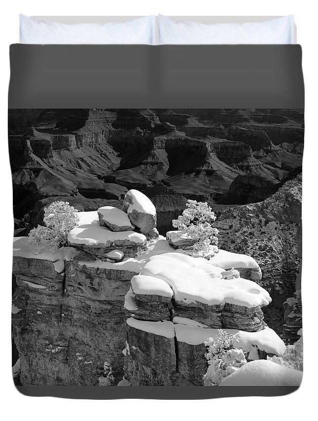 Horizontal Duvet Cover featuring the photograph Grand Canyon Snow Black And White Photo by Patrick McGill