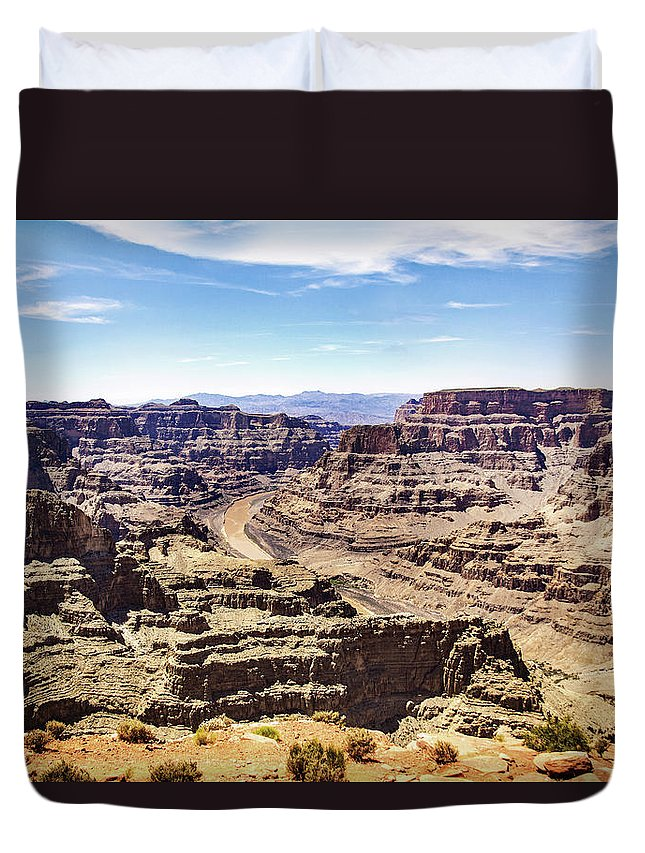 Landscape Duvet Cover featuring the photograph Grand Canyon West Rim by Raymond Zajac