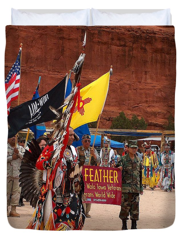 Pow-wow Duvet Cover featuring the photograph Grand Entry At Star Feather Pow-wow by Tim McCarthy