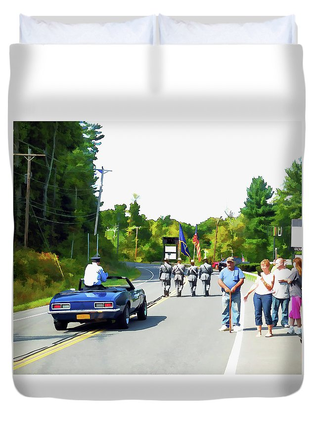 Grand Marshal Duvet Cover featuring the painting Grand Marshal Commissioner Frank Dovigh 3 by Jeelan Clark