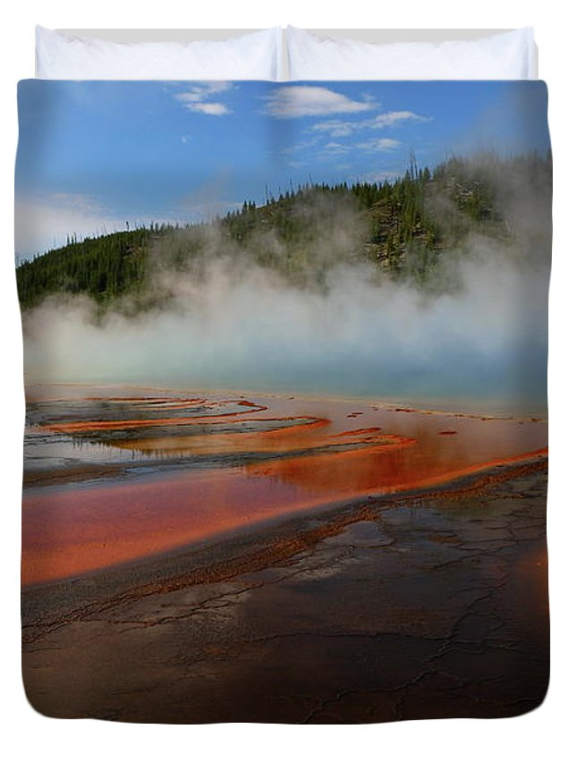 Park Duvet Cover featuring the photograph Grand Prismatic Spring Colors by Christiane Schulze Art And Photography