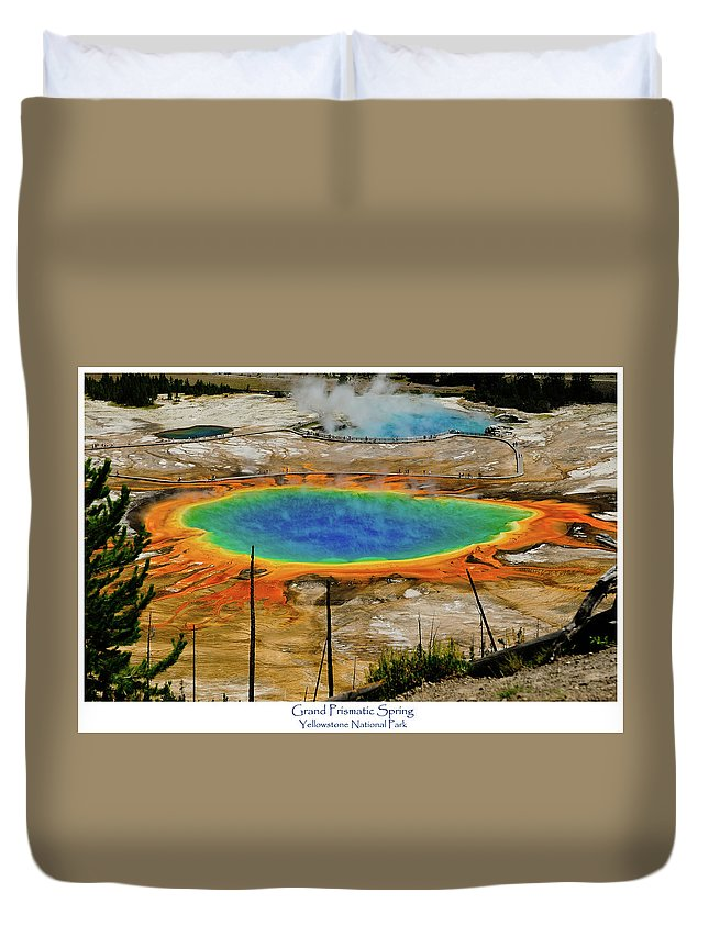 Grand Prismatic Spring Duvet Cover featuring the photograph Grand Prismatic Spring by Greg Norrell