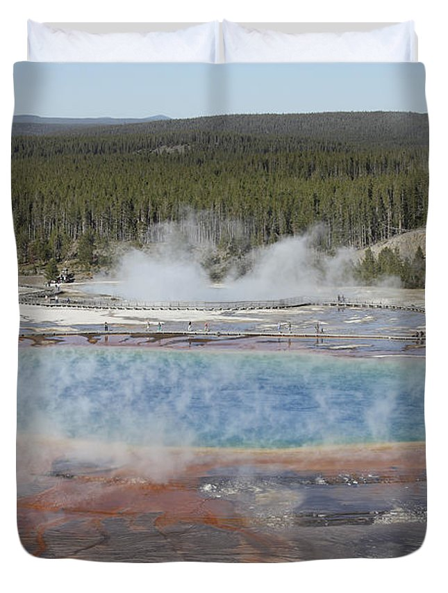 Unesco Duvet Cover featuring the photograph Grand Prismatic Spring, Midway Geyser by Richard Roscoe