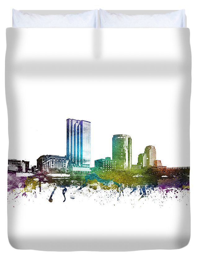 Grand Rapids Duvet Cover featuring the digital art Grand Rapids Cityscape 01 by Aged Pixel