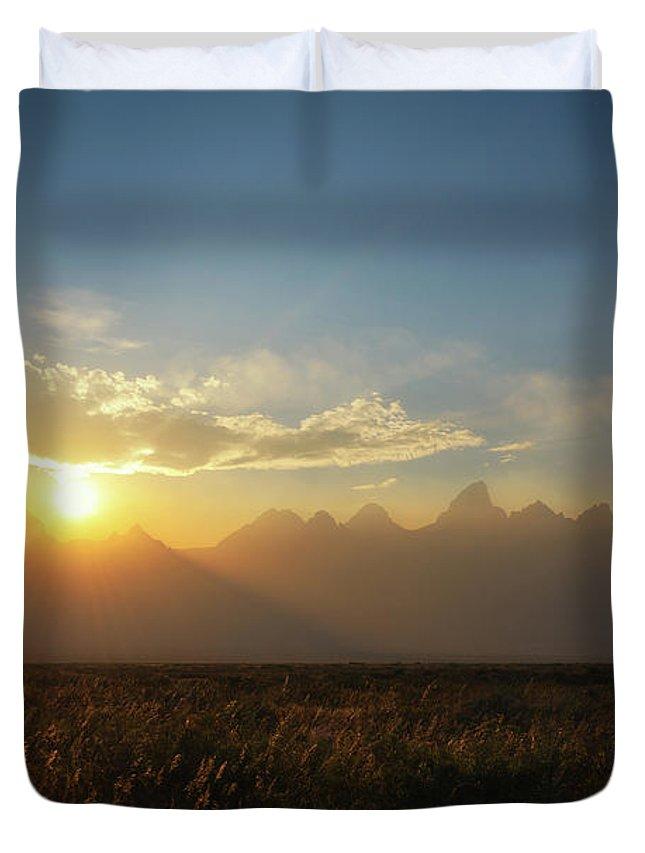 Grand Teton Duvet Cover featuring the photograph Grand Teton Open Plains Sunset by Michael Ver Sprill