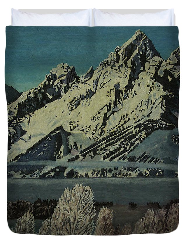 Wyoming Duvet Cover featuring the photograph Grand Teton Winter by Rich Walter