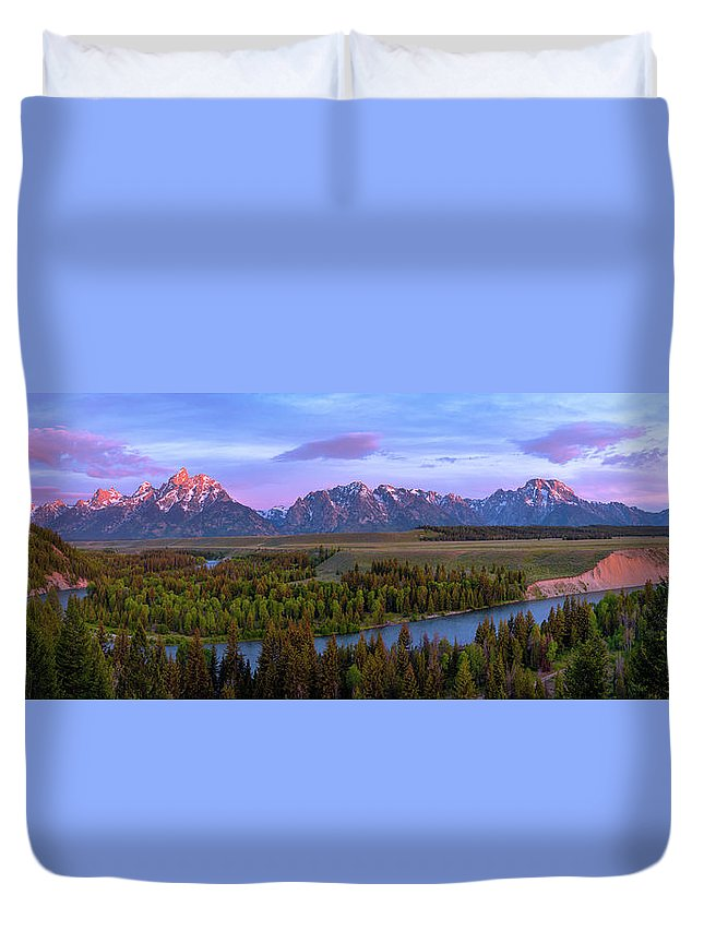 Grand Tetons Duvet Cover featuring the photograph Grand Tetons by Chad Dutson