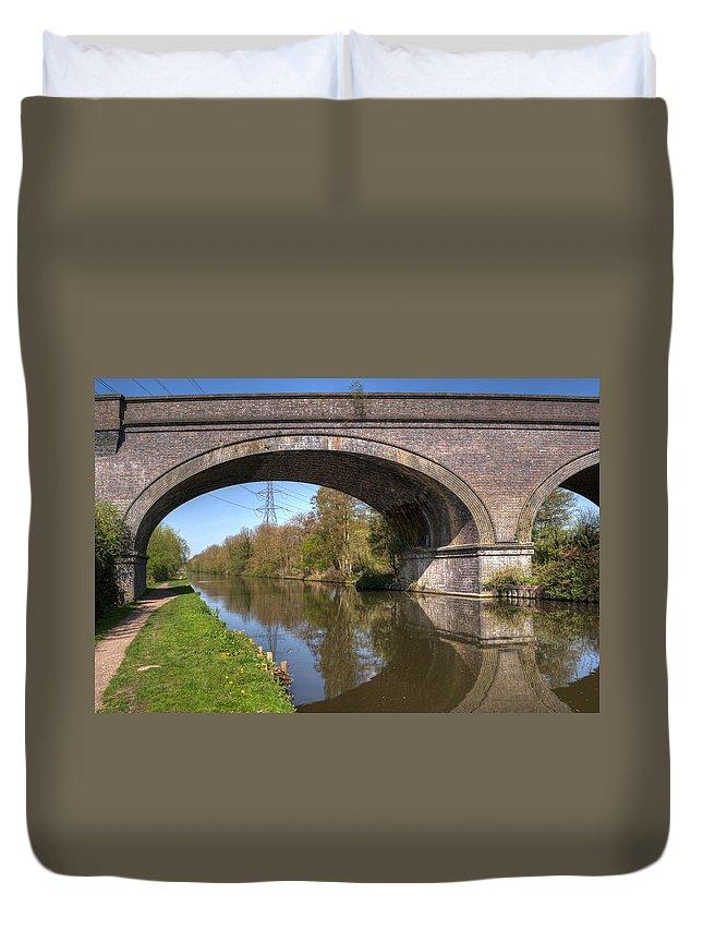 Bridge Duvet Cover featuring the photograph Grand Union Canal Bridge 181 by Chris Day