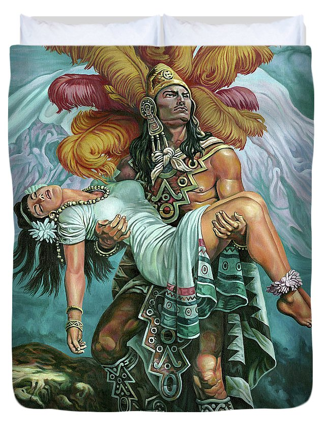 Indian Duvet Cover featuring the painting Grandeza Azteca by Daniel Ayala