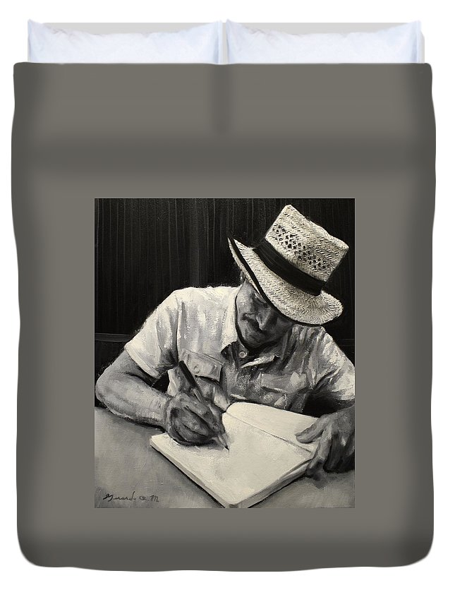 Granfather Duvet Cover featuring the painting Grandfather's Straw Hat .2015 by Gerardo R Madrigal