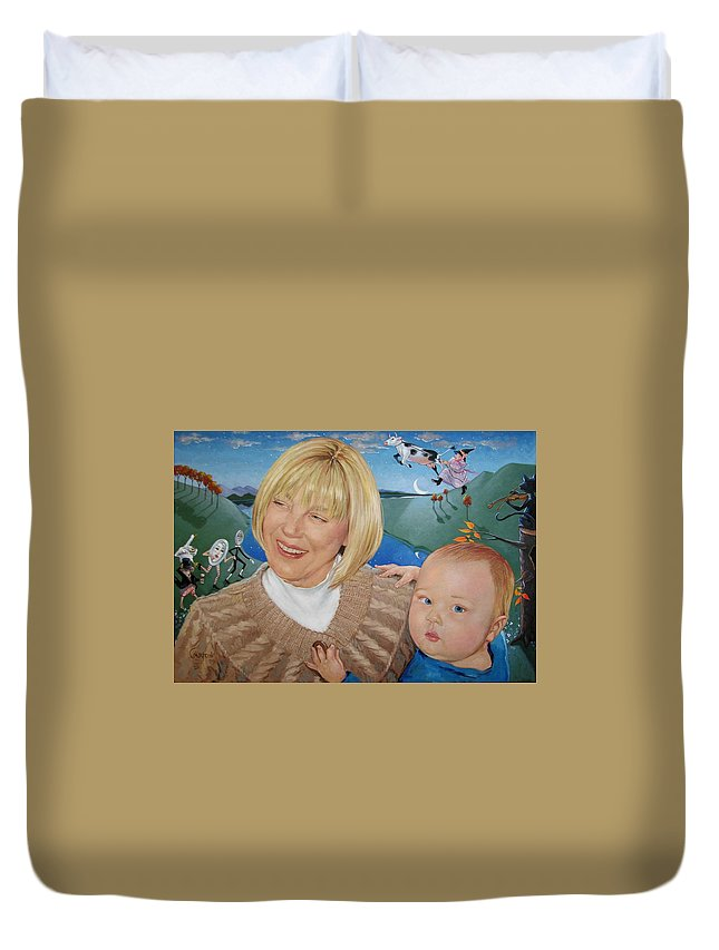 Portrait Duvet Cover featuring the painting Grandma And Kaidin by Jerrold Carton