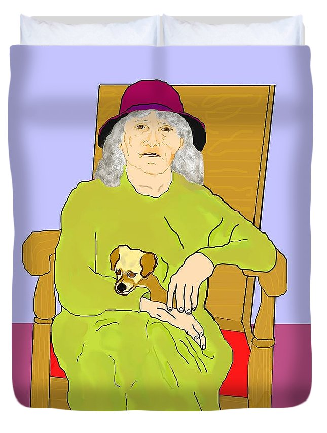 Grandmother Duvet Cover featuring the painting Grandma And Puppy by Pharris Art