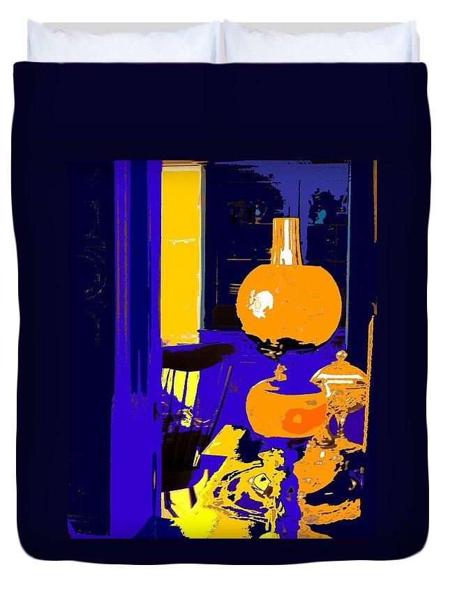 Oil Lamp Duvet Cover featuring the photograph Grandma by Ian MacDonald