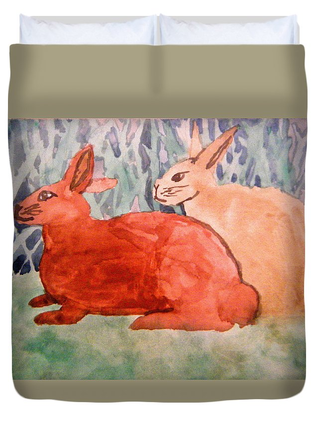 Landscapes Duvet Cover featuring the painting Grandma's Bunnies by April Patterson
