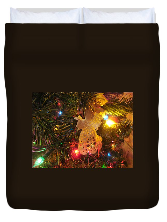 Christmas Duvet Cover featuring the photograph Grandmas Christmas Angel by Susan Kubes