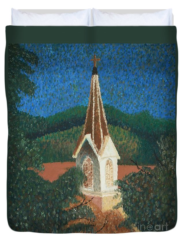 Grandma's Church Duvet Cover featuring the painting Grandmas Church by Jacqueline Athmann