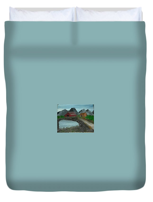 Pennsylvania Duvet Cover featuring the painting Grandma's Farm by Cindy Riley