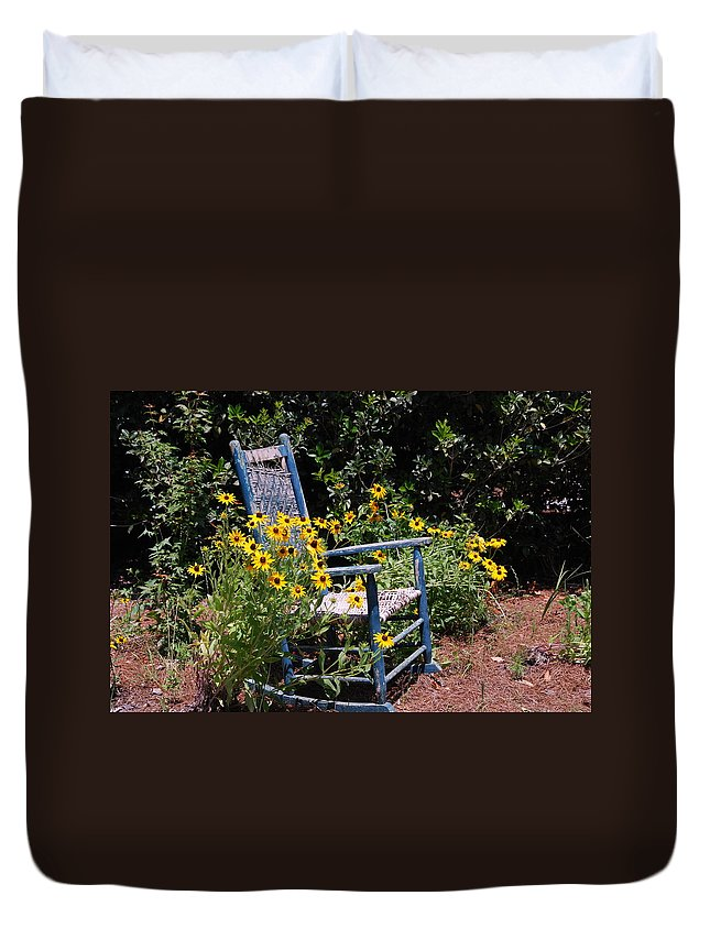 Rocking Chair Duvet Cover featuring the photograph Grandma's Rocking Chair by Susanne Van Hulst
