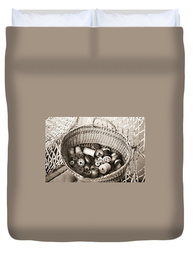Americana Duvet Cover featuring the photograph Grandma's Sewing Basket by Marilyn Hunt