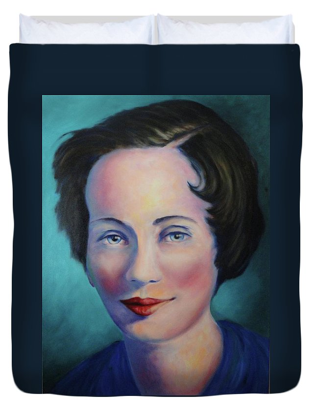 Painting Duvet Cover featuring the painting Grandmother by Shannon Grissom