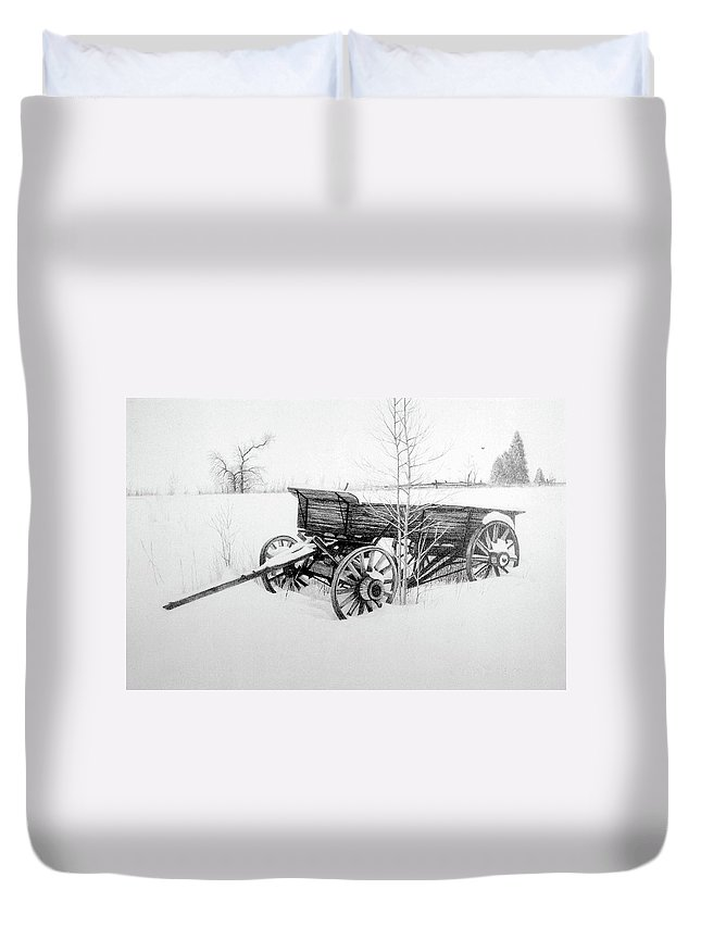 Landscape Duvet Cover featuring the drawing Grandpa's Old Wagon by Conrad Mieschke