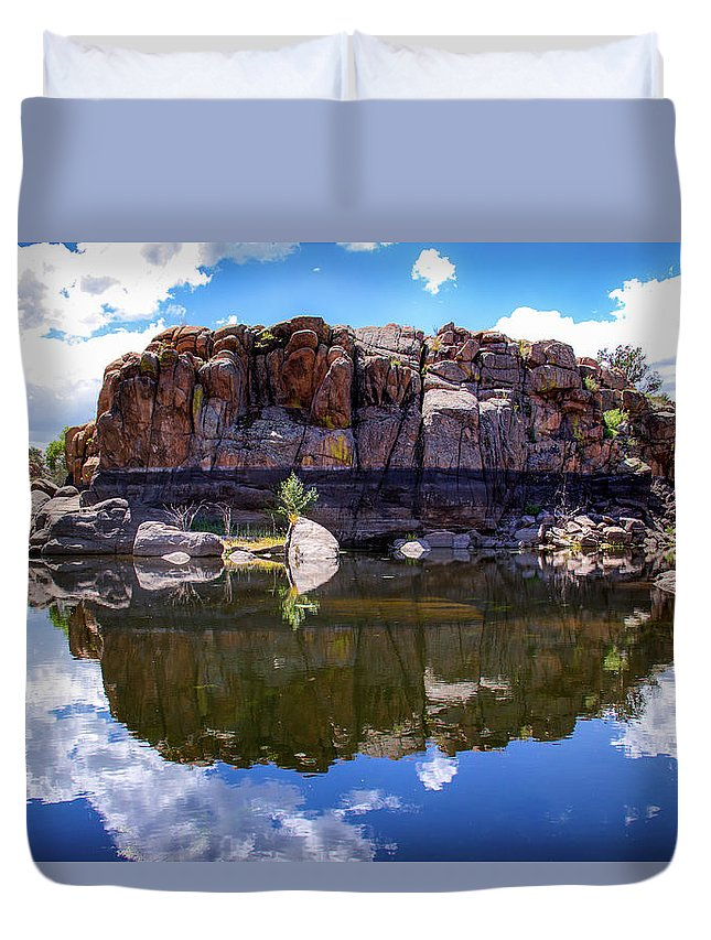 Landscape Duvet Cover featuring the photograph Granite Dells Reflection by Amy Sorvillo
