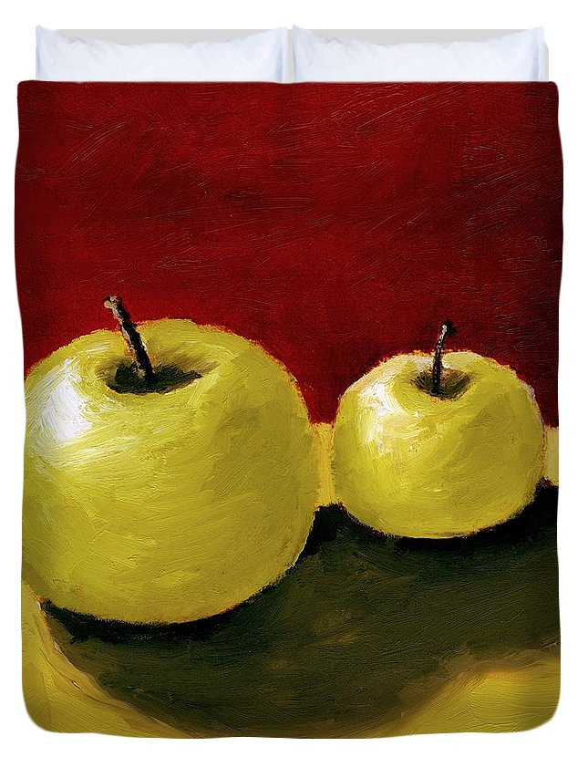 Apple Duvet Cover featuring the painting Granny Smith Apples by Michelle Calkins