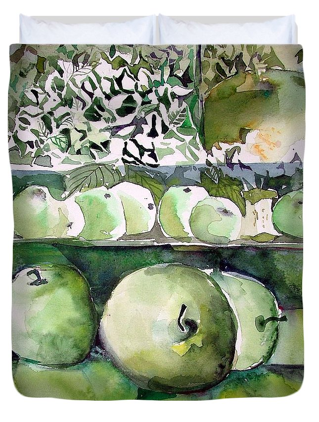 Apple Duvet Cover featuring the painting Granny Smith Apples by Mindy Newman