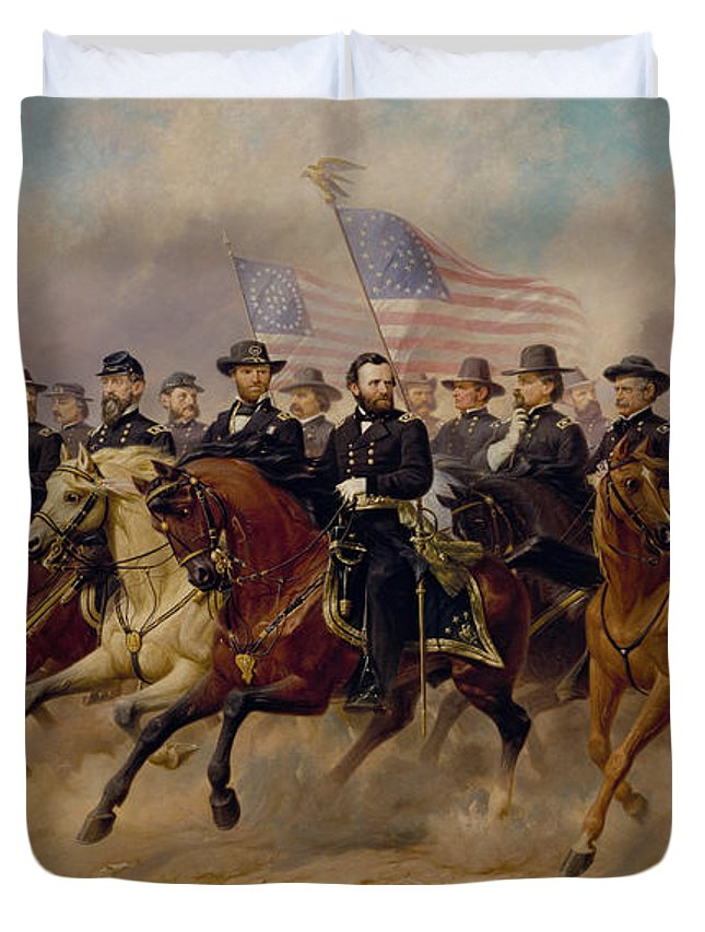 Grant Duvet Cover featuring the painting Grant And His Generals by War Is Hell Store