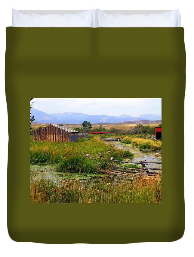 Ranch Duvet Cover featuring the photograph Grant Khors Ranch Deer Lodge Mt by Marty Koch
