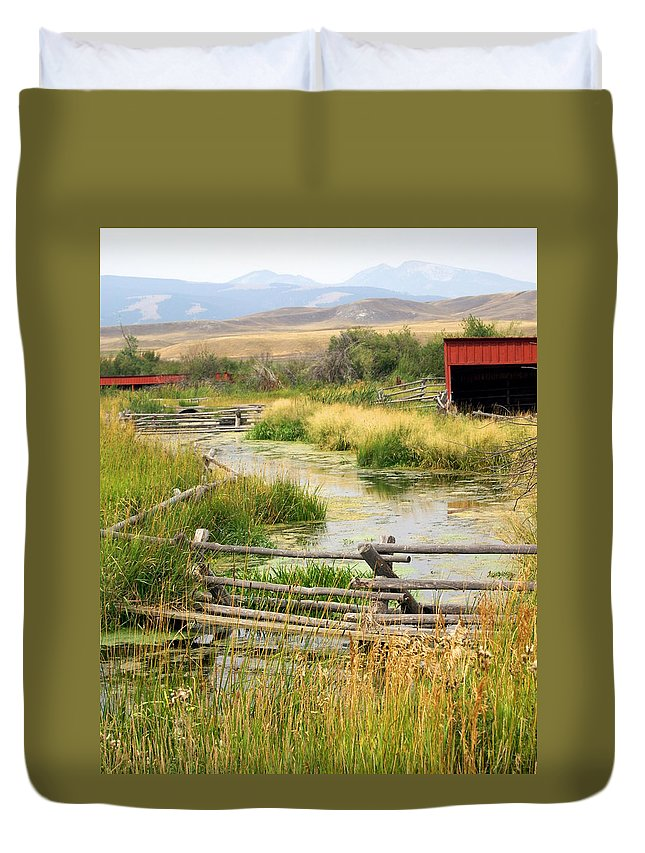 Ranch Duvet Cover featuring the photograph Grants Khors Ranch Vertical by Marty Koch