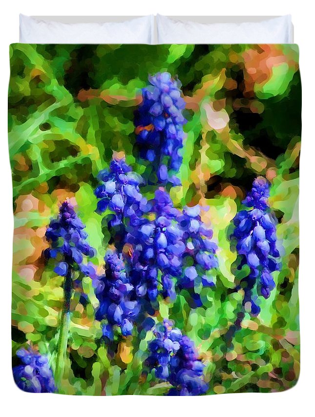 Grape Hyacinths Duvet Cover featuring the photograph Grape Hyacinths by David Lane