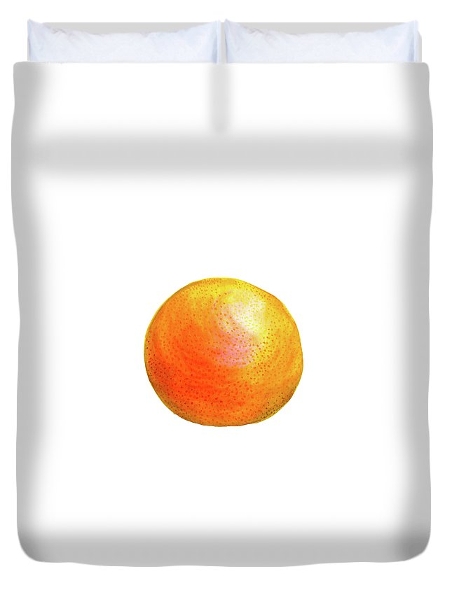 Watercolor Painting Duvet Cover featuring the painting Grapefruit by Erin Sparler