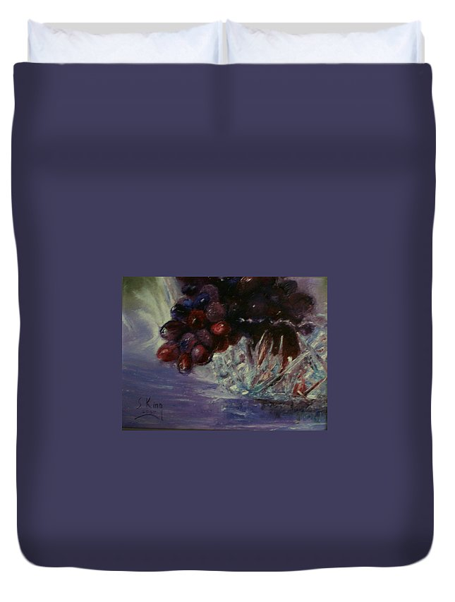 Still Life Duvet Cover featuring the painting Grapes And Glass by Stephen King
