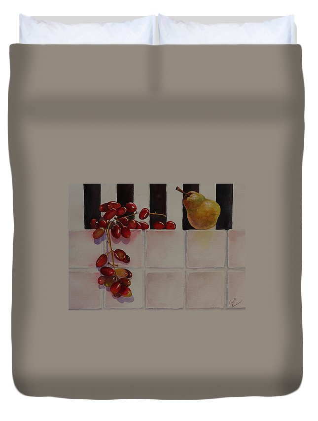 Fruit Duvet Cover featuring the painting Grapes And Pear by Ruth Kamenev