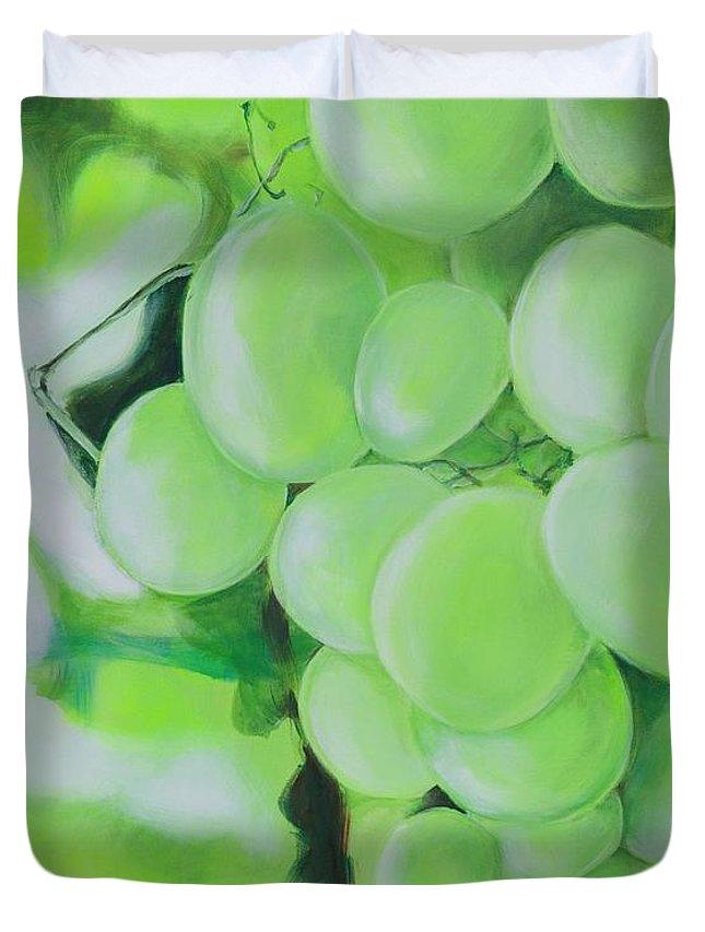 Grapes Duvet Cover featuring the digital art Grapes by Elisabeth Skajem Atter