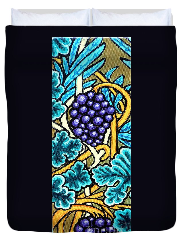 Purple Grapes On A Vine Duvet Cover featuring the painting Grapes by Genevieve Esson