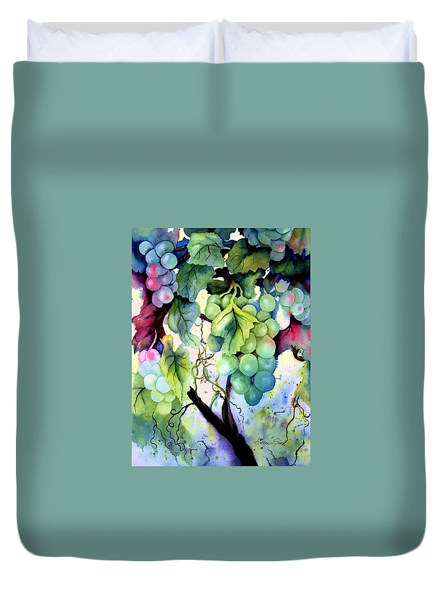 Grapes Duvet Cover featuring the painting Grapes II by Karen Stark