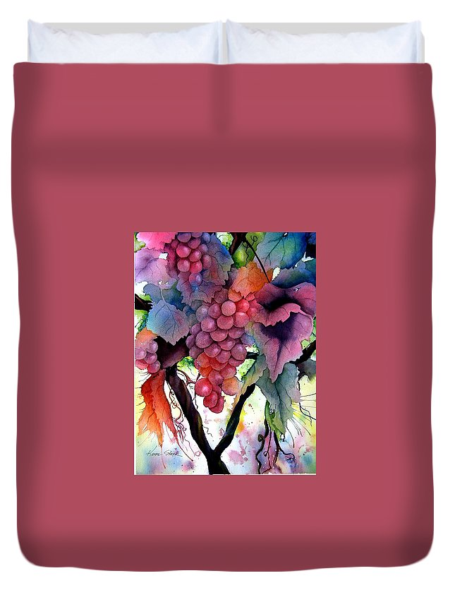 Grape Duvet Cover featuring the painting Grapes III by Karen Stark