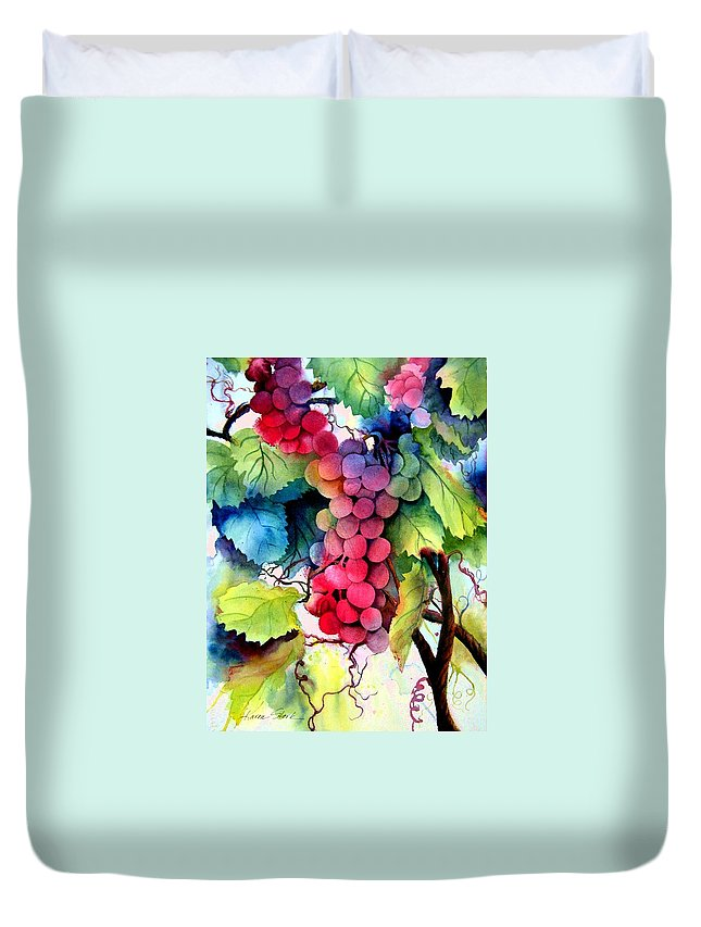 Grapes Duvet Cover featuring the painting Grapes by Karen Stark