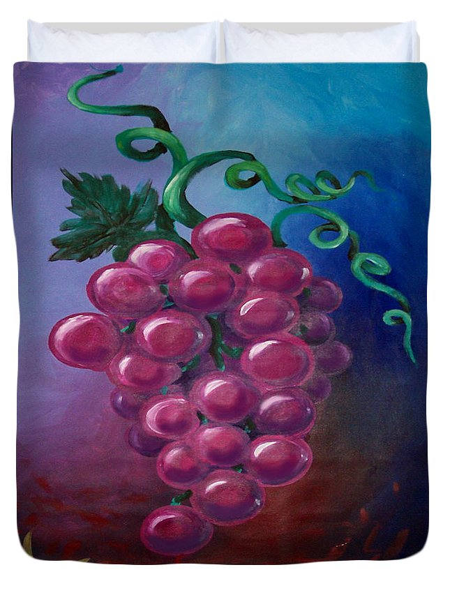 Grape Duvet Cover featuring the painting Grapes by Kevin Middleton
