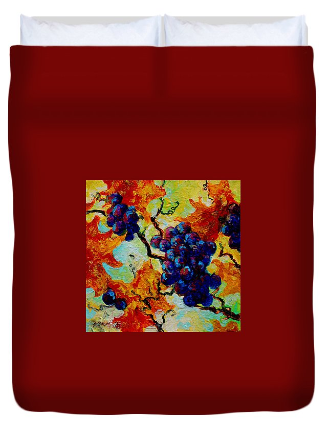 Grapes Duvet Cover featuring the painting Grapes Mini by Marion Rose