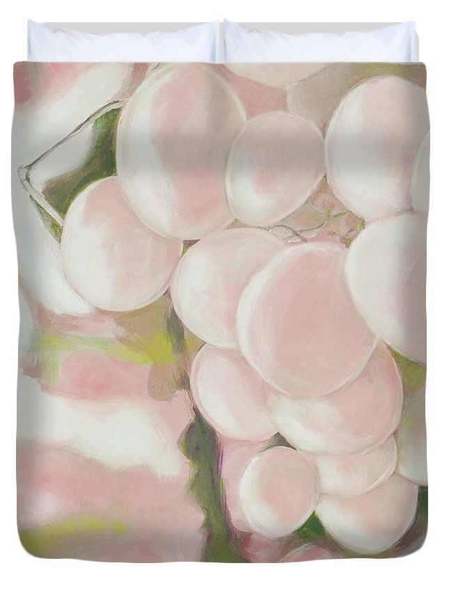 Grapes Duvet Cover featuring the digital art Grapes Powder Pink by Elisabeth Skajem Atter