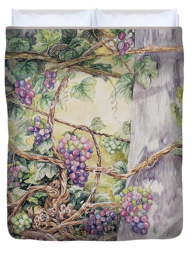 Vines Duvet Cover featuring the painting Grapevine Laurel Lakevineyard by Valerie Meotti
