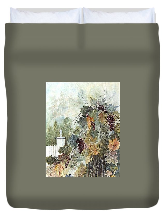 Fruit Duvet Cover featuring the painting Grapevine Topiary by Ben Kiger